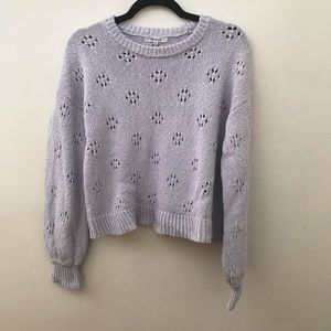 Madewell floral pointelle lavender purple sweater